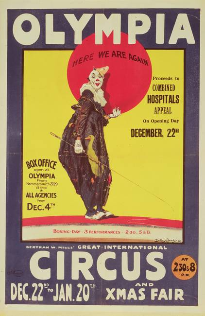 Bertram Mills circus poster, 1922 )colour litho(