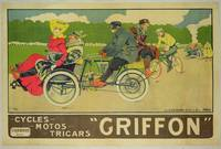 Poster advertising Griffon Cycles, Motos & Tricars