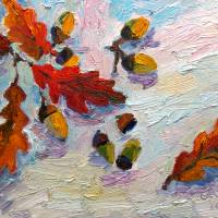 """""""Acorns In The Snow Oil Painting by Ginette"""" by GinetteCallaway"""