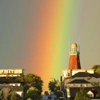 Rainbow over Portland Observatory Art Prints & Posters by Gordon Chibroski