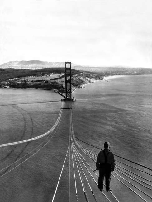 Man on Golden Gate Bridge, San Francisco