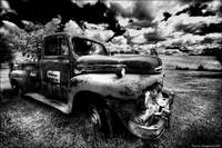 Old merc truck B&W version