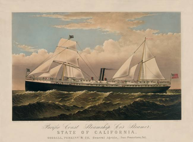 Pacific Coast Steamship Cos Steamer c1878