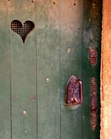 Green Door with Heart