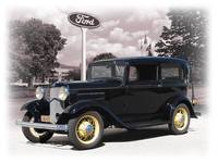 1932 Ford V-8 Tudor In Front of Ford Plant