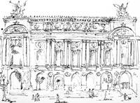 Opera Garnier Paris Ink Drawing by Ginette