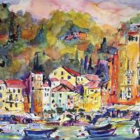 """Portofino Watercolor ; Ink by Ginette Callaway"" by GinetteCallaway"