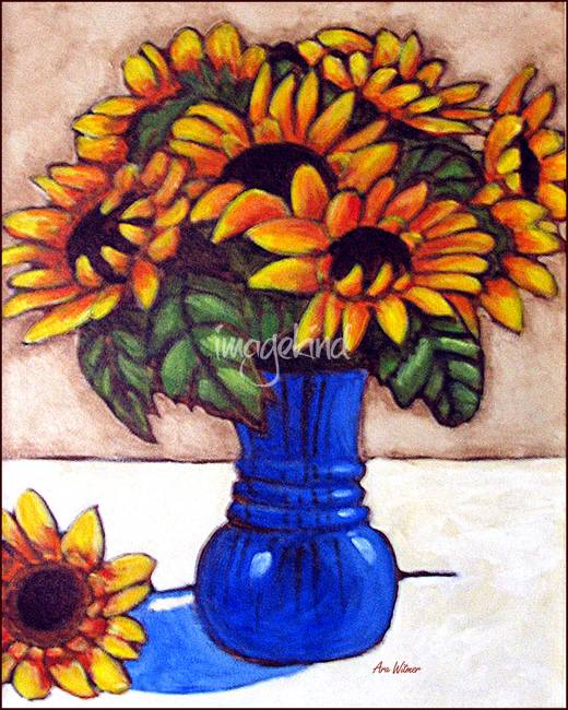Sunflowers In Blue Vase By Ara Witmer