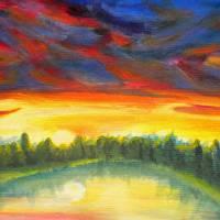 Sunrise over lake Art Prints & Posters by Bru Baker