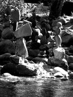 Rocks stacked in Boulder Creek Deux