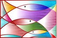 Digital painting symbolic fishes in pattern backgr