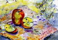 Apples & Bees Watercolor & Ink by Ginette