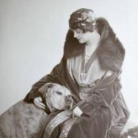 """Vintage Image of Sleepy Pitbull Terrier with Woman"" by BreedHistoryCards"