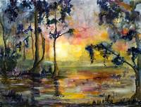 Swamp Lights Watercolor by Ginette