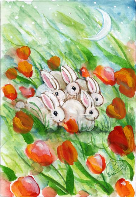Bunch of Bunny Rabbits in Red Tulips