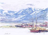 Fishing Boats & Mountain in Longyearbyen