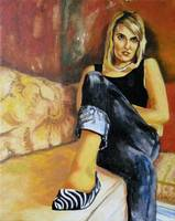Woman in Striped Shoes