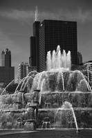 Chicago Skyline and Buckingham Fountain 2010 #2 BW