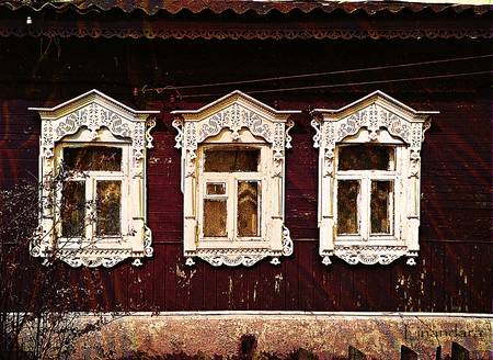 Three Windows. Russian Izba by Alexandra Cook