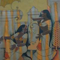 Women Gossiping Art Prints & Posters by Prabhakar Wagh