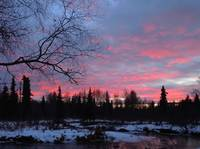 Alaska Anchorage Sunset On Campbell Creek