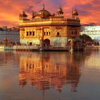 """Golden Temple Red Sunset"" by SikhPhotos"