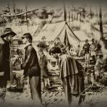 Union Army Camp at Gettysburg in Black and White