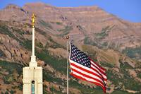 Mount timpanogos temple summer shot flag