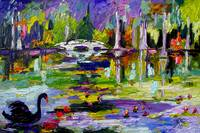 Black Swan Lake Oil Painting by Ginette
