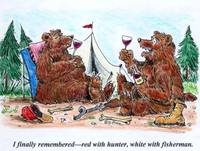 Bears Enjoying Wine
