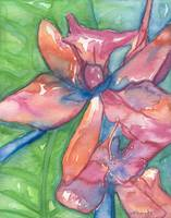 Floral Watercolor Painting, Orchid Print