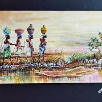 Women carring water from the farm Art Prints & Posters by NAPLAH NAPLAH