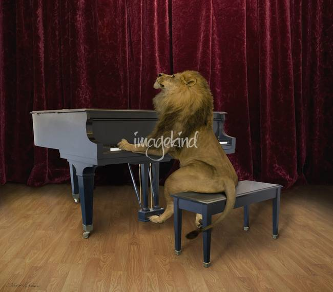 Lion playing grand piano on stage with style