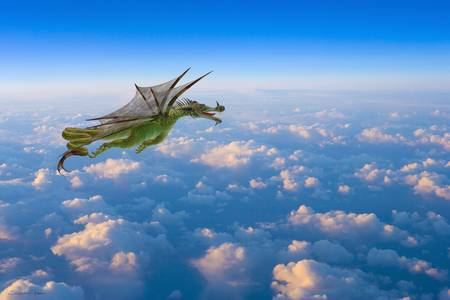 Dragon flying over beautiful clouds with tongue by Stephanie Roeser