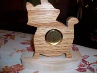Cat wooden mini desk clock