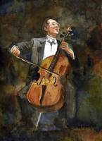 The Joy of Cello, Yo Yo Ma Portrait Watercolor