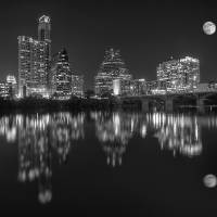 """Austin Skyline with Full Moon"" by eyeates"