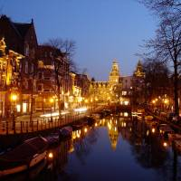 Amsterdam Canal at Night Art Prints & Posters by Alexander Krasnitsky
