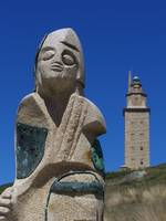 La Coruna (Spain) - Torre de Hercules and statue