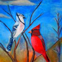 """""""Cardinal and Blue jay"""" by LJdesigns"""