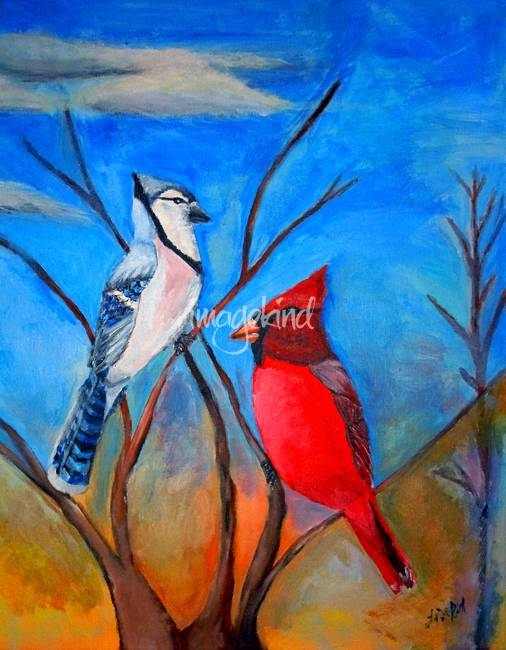 Cardinal And Blue Jay By Lisa Rich
