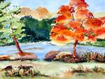 Fall Foliage Riverview - Original Watercolor Paint