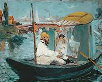 Monet in his Floating Studio, 1874, by Manet