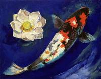 Showa Koi and Lotus Flower