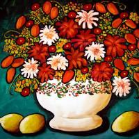 """""""Rust Flowers on Turquoise"""" by reniebritenbucher"""