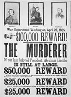 Reward Poster for Lincoln's Assasinator