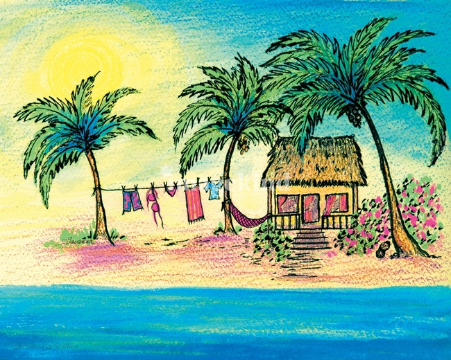 Stunning caribbean watercolor painting reproductions for for Beach house prints