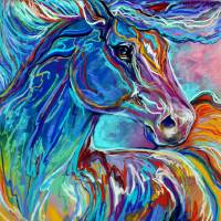 PAINTED PONY ABSTRACT in PASTELS by Marcia Baldwin