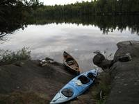 Beached boats on Weller Pond