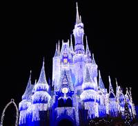 Disney's Cinderella's Castle in Christmas lights